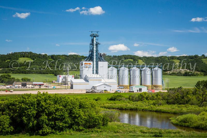 A Pioneer inland grain terminal at Minnedosa, Manitoba, Canada.