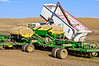 Filling an air seeder with garbanzo bean seeds.