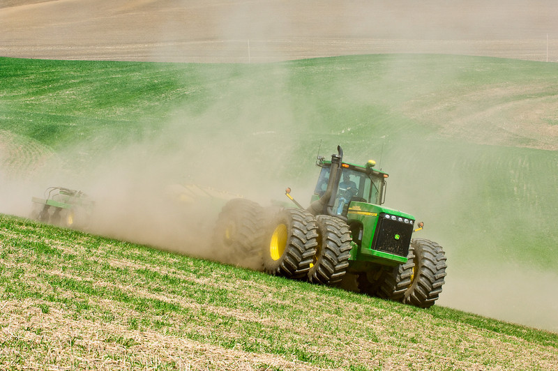 Replanting wheat in the spring to replace snow damaged winter wheat in the Palouse region of Washington