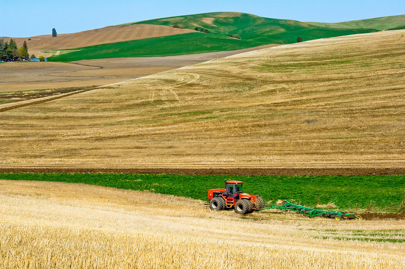 Spring ground preparation prior to planting garbanzo  beans in the Palouse region of Washington