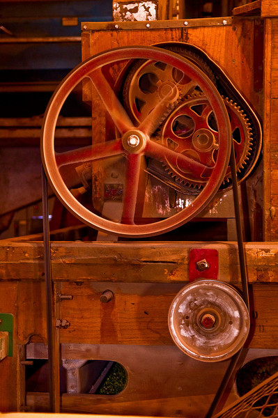 Detail of machine used in the processing of dry peas in an elevator in the Palouse region of Washington