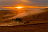 A pair of combines harvest grain on the hills of the Palouse region of Washington at sunset.