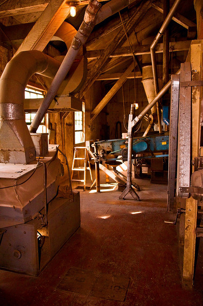 Machines used in the processing of dry peas in an elevator in the Palouse region of Washington