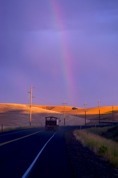 Gold at the end of the rainbow Harvesting wheat in the Palouse region of Washington