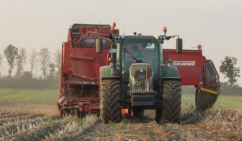 Fendt 720 Vario with potato harvester Grimme SE150-60 in Titz.