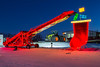 A Gen Ag farm equipment display with Christmas lights near Winkler, Manitoba, Canada.