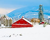 Red barn in the snow in Skagit County, Washington