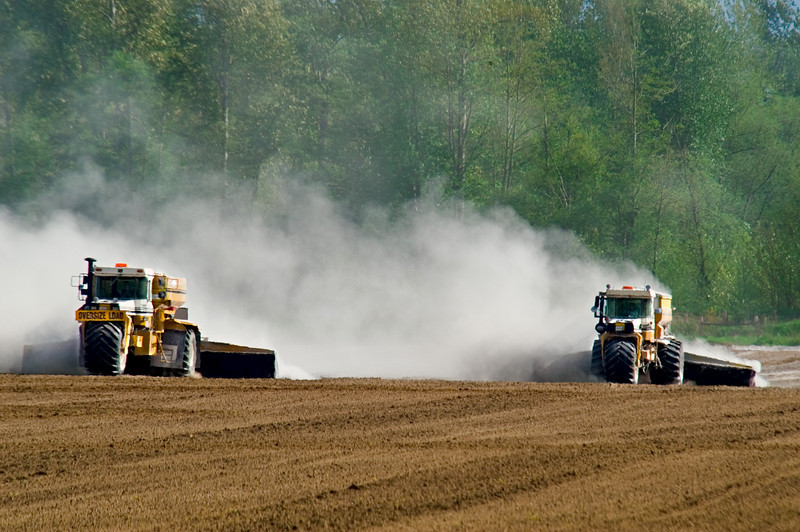 Seed bed preparation and the application of lime prior to planting potatoes in Skagit County, WA