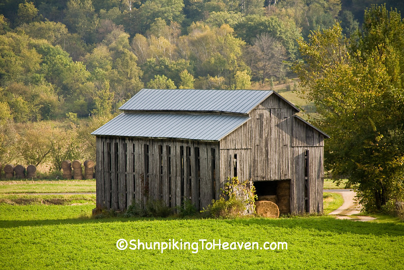 Gray Tobacco Barn Used for Hay Storage, Vernon County, Wisconsin