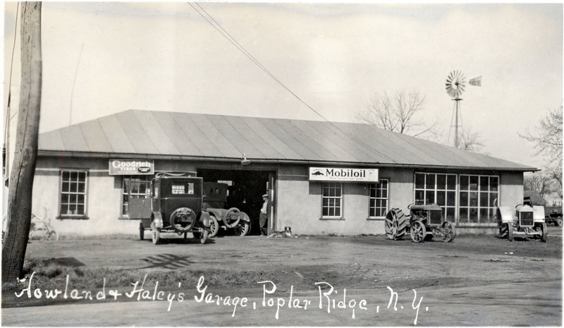 Howland & Haley's Garage, on the West side of the road across from Talcott's Farm on 34B, Poplar Ridge, NY. Torn down. (Photo ID: 27980)