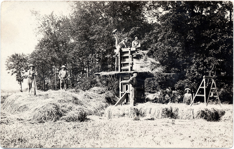 Early 1900, a Jump Hay Press near Weeks Corners. A group of old hay seed's, especially one. (Photo ID: 28969)