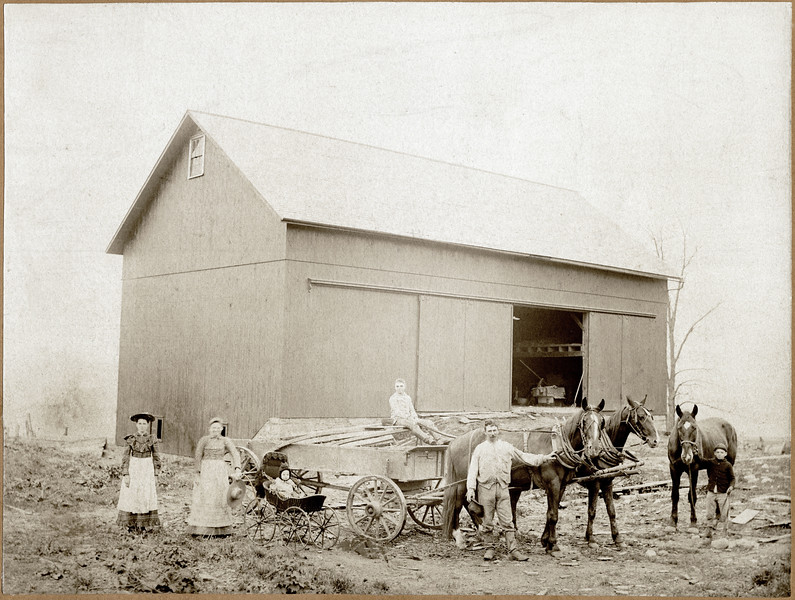 Geo Ferris family. New barn built 1893. This is the Farm at Five Corners. (Photo ID: 30658)