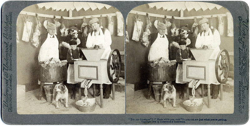 """""""Try our Sausage! Made while you wait!"""" - you can see just what you're getting. Copyright 1902 Underwood & Underwood. (Photo ID: 29485)"""