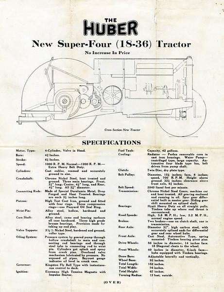 Huber Tractor Specs. (Photo ID: 30964)