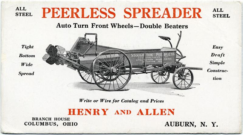 Peerless Spreader, Henry and Allen, Auburn, NY. (Photo ID: 41110 a)