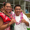 Celebrity Chef Sam Choy with Miss American Samoa.