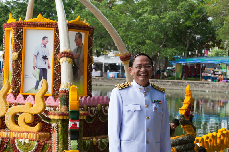 The festival floats are educational and also function as a backdrop for a Thai favorite pastime, photography.