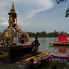 Floats on the lake at Taksin Park are a central feature of the festial. Here, floats are being made the afternoon before opening day.