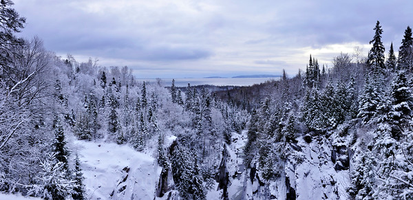 Winter Panorama View From the Aguasabon River Scenic Lookout, Terrace Bay, Ontario, Canada,