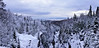 Winter Panorama View From the Aguasabon River Scenic Lookout, Terrace Bay, Ontario, Canada,  Slate Islands on the Horizon.
