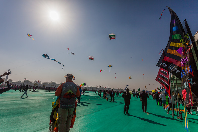 Colourful innovative kites at the International Kite Festival 2019, Ahmedabad, India