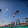 Visitors at the International Kite Festival 2019 trying their hand at some cool kites in Ahmedabad, India