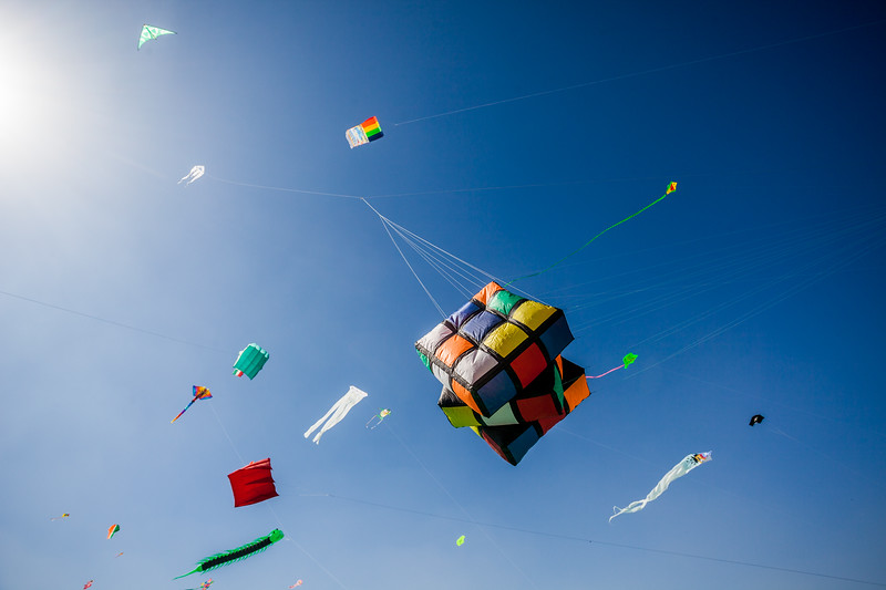 Innovative kite in the shape of a Rubik's cube rises up at the International Kite Festival 2019, Ahmedabad, India