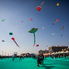Colourful kites in all shapes and sizes fill the air at the International Kite Festival 2019, Ahmedabad, India