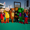 Comic characters add to the colour as they attract kids at the International Kite Festival 2019, Ahmedabad, India