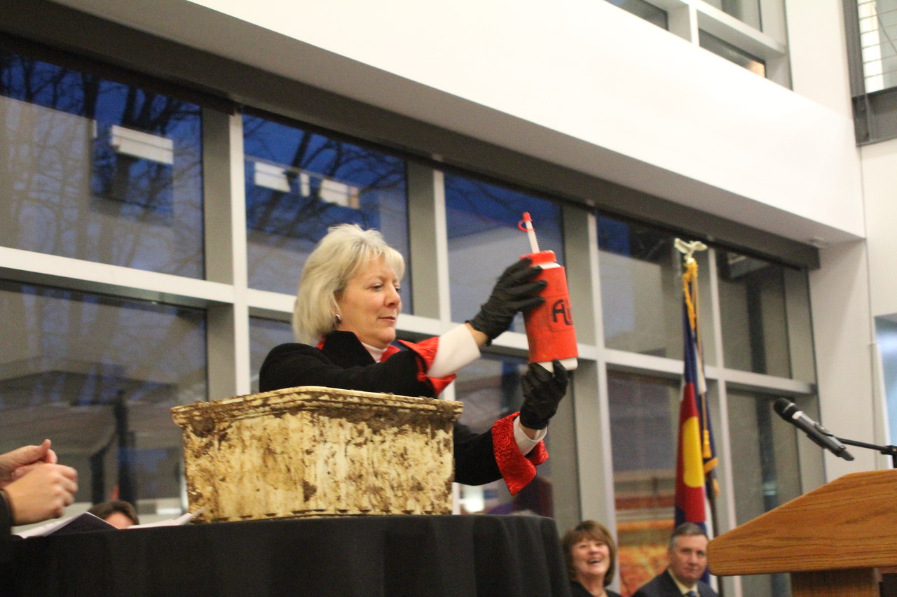 Unveiling the contents of the time capsule.