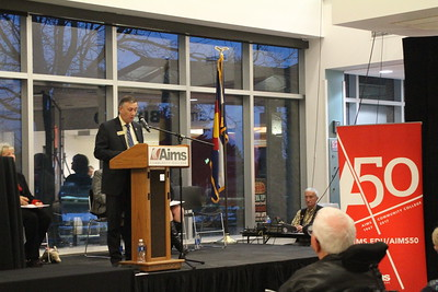 Mike Freeman, Weld County Commissioner, speaks to the crowd.