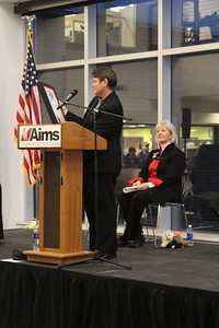 Diane Duffy, Interim Executive Director of the Colorado Department of Higher Education reads the Aims Community College Day Proclamation.