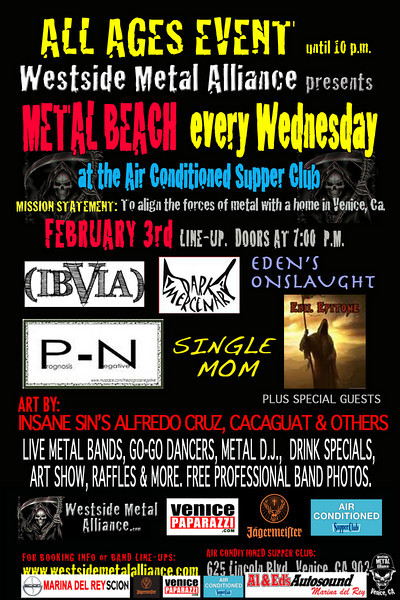 """For booking and information. Westside Metal Alliance. <a href=""""http://www.westsidemetalalliance.com"""">http://www.westsidemetalalliance.com</a> Air Conditioned Supper Club. 625 Lincoln Blvd. Venice, Ca 9029 <a href=""""http://www.airconditionedbar.com"""">http://www.airconditionedbar.com</a>. Photo by Venice Paparazzi. <a href=""""http://www.venicepaparazzi.com"""">http://www.venicepaparazzi.com</a>"""