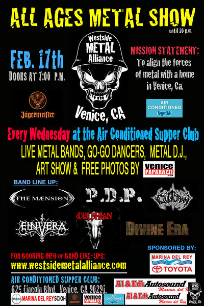 "For booking and information. Westside Metal Alliance.  <a href=""http://www.westsidemetalalliance.com"">http://www.westsidemetalalliance.com</a> Air Conditioned Supper Club. 625 Lincoln Blvd. Venice, Ca 9029.  <a href=""http://www.airconditionedbar.com"">http://www.airconditionedbar.com</a>. Photo by Venice Paparazzi.  <a href=""http://www.venicepaparazzi.com"">http://www.venicepaparazzi.com</a>."