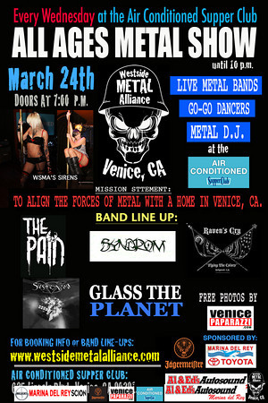 """For WESTSIDE METAL ALLIANCE'S booking and information. <a href=""""http://www.westsidemetalalliance.com"""">http://www.westsidemetalalliance.com</a>. Air Conditioned Supper Club. 625 Lincoln Blvd. Venice, Ca 90291. <a href=""""http://www.airconditionedbar.com"""">http://www.airconditionedbar.com</a>. Photos by VENICE PAPARAZZI. <a href=""""http://www.venicepaparazzi.com"""">http://www.venicepaparazzi.com</a>  edit"""