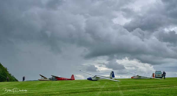 A line of Vintage Gliders at The Park Airfield