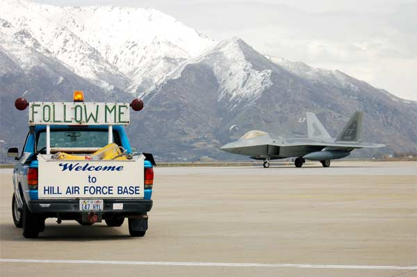 An F-22A Raptor arrives at Hill Air Force Base, Utah, on Sunday, April 9, 2006, for minor modifications. Members of the 309th Maintenance Group will modify this, the first of 18 F-22s that will receive various modifications at Hill.