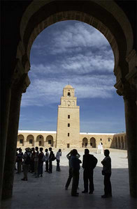 Air Force medical specialists participating in Exercise MEDLite 2006 in Tunisia visit the Great Mosque of Kairouan as part of a cultural exchange day Sunday, April 2, 2006.