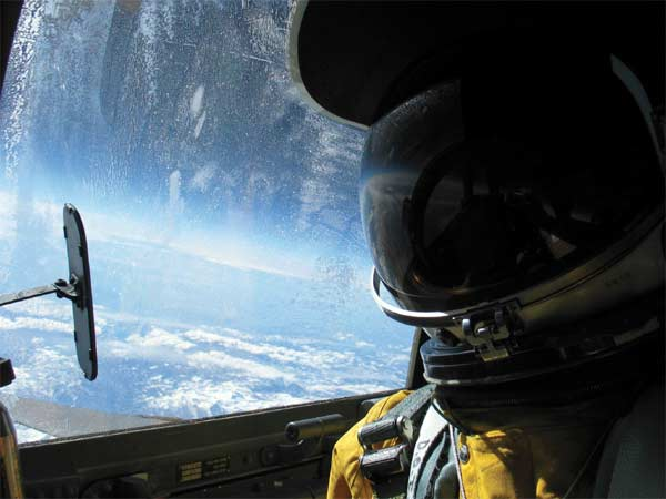 Col. Chris Cook gets a sweeping view of California from 71,000 feet during a recent flight in a U-2 Dragon Lady.