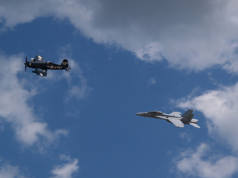 F4U Corsair, left, and F/A18F Super Hornet, Andrews AFB Joint Services Open House, May 19, 2007.