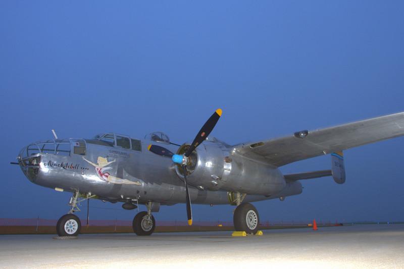 B-25 <i>Miss Mitchell</i>  at night.
