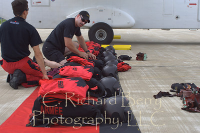 The Canadian Skyhawks check their gear.