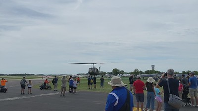 Huey helicopter taking off