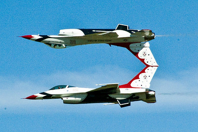 This is my 'million dollar shot' of Thunderbird 5 & 6 doing a mirror image pass. Notice how it appears their two tails are touching, even though they aren't.