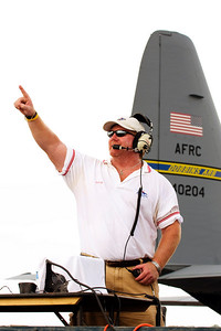 "Air Boss, Kevin Sullivan, points to the sky and says ""Let's get flying!"""