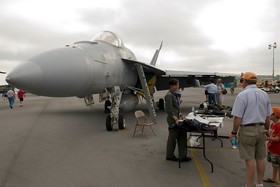 The U.S. Navy sent one of their F/A-18E Super Hornets from VFA-105 to the show as a static display. The pilot of the fighter is the young lady in the photo, Lt. Liz Tremel.
