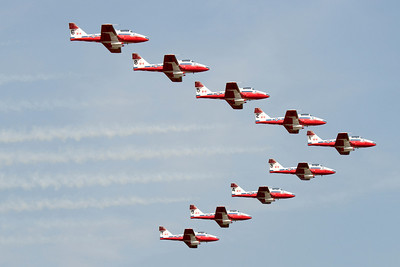 The nine Snowbirds planes in a V formation as they make a pass in front of the spectators at 'Snowbirds Over Anderson, S.C.' on May 7, 2008.
