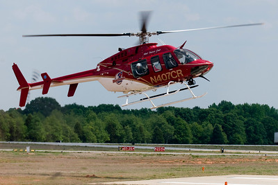One of the two Medivac helicopters arrives for the show. The helicopters were on standby during the show.
