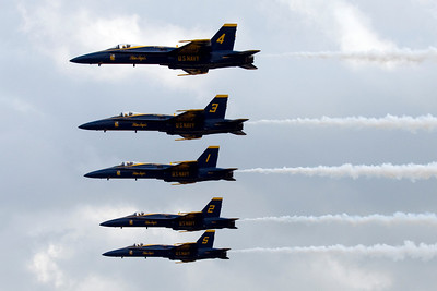 The Blue Angels do a line abreast pass at the Vidalia Onion Festival air show.