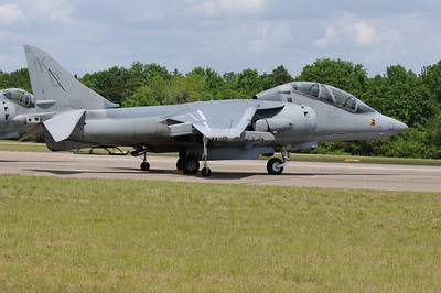 A rare 2-seater Marine Corps Harrier plane on display at the Vidalia Onion Festival air show.